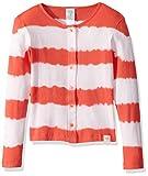 Munki Munki Girls' Big Cardigan Dyed Stripe, Red & White, L(12)