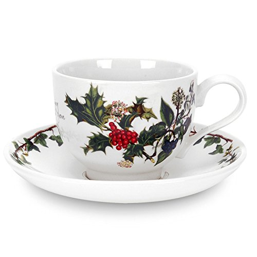 Holly & The Ivy Tasse à thé et Soucoupe, en CÉRAMIQUE, Multicolore, Lot de 6