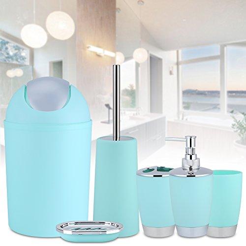 AYNEFY 6tlg Badezimmer Zubehör Set Badaccessoires mit Zahnbürstenhalter Becher Seifenschale Seifenspender WC-Bürste Mülleimer Modern Stil Badgarnitur (Hellblau)
