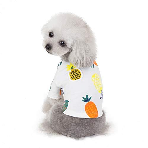 Huisdier-T-shirt, hondommerkleding puppy huisdierkleding Clothes bedrukken van overhemden voor kleine en middelgrote honden, wit, blauw, gele kleding voor kleine honden