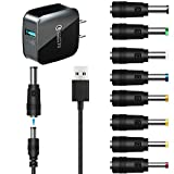 TFSeven USB to DC Power Cable 8 in 1 Universal USB to DC Jack Power Charging Cable Cord 8 Interchangeable Plug Connectors Adapter + QC Wall USB Charger for Router,Mini Fan,Speaker,Camera,Game Console