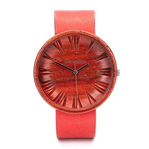 Rot Holzuhr Damen Lederarmband, Uhr aus Nachhaltigem Holz