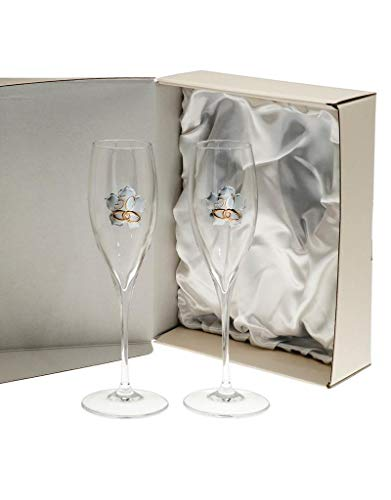 El Faro Copas champan Personalizadas Bodas o Aniversarios Cristal Trébol (Bodas Oro)