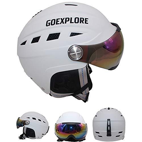 Masque de Ski 2in1 Casque de Ski, Casque de Sports de Neige EPS + ABS Confortable, Respirant et sûr, Lunettes de Protection Anti-buée et Anti-UV Amovibles (S/M/L/XL)