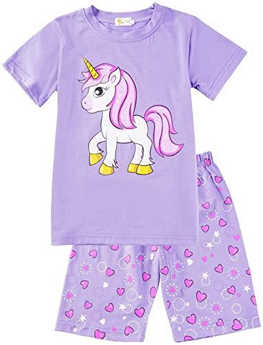 Little Hand Schlafanzug Mädchen Einhorn Eiscreme Kinder Sommer Zweiteiliger Baumwolle Kurz Nachtwäsche T-Shirt und Hose, Einhorn 2, 122 (HerstellerGröße: 140)