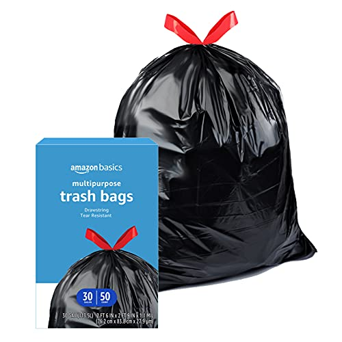 Amazon Basics Multipurpose Drawstring Trash Bags, 30 Gallon, 50 Count (Previously Solimo)