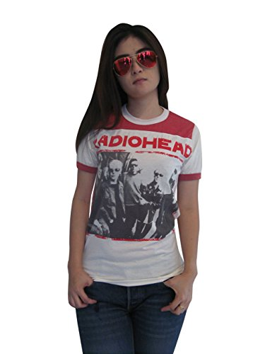 BUNNY BRAND Women's Thom Yorke Radiohead Ringer T-Shirt Jersey White Red New (Large)