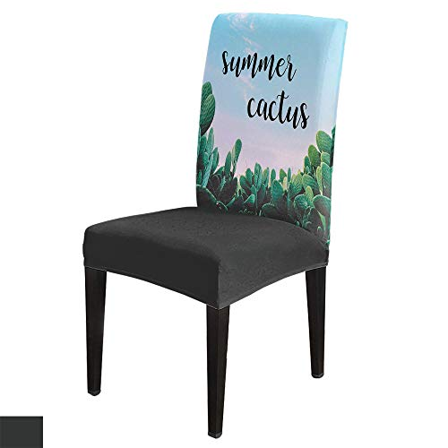 Dining Chair Covers, Stretch Protectors Slipcovers Tropical Cactus Plants Green Succulent Removable Washable Seat Cover for Home Living/Dining Room Party Hotel Summer Floral