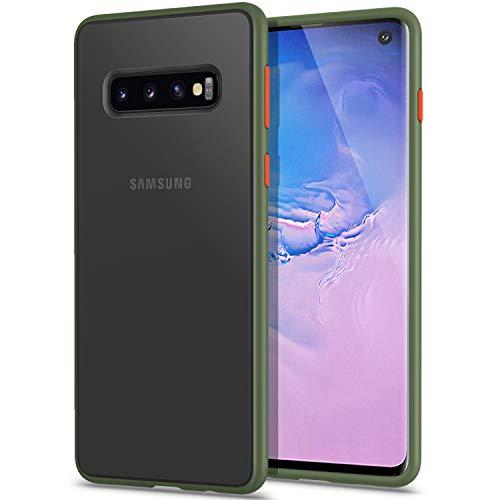 YATWIN Funda Samsung Galaxy S10, [Shockproof Style] Funda Protectora Parte Posterior de PC Dura Translúcida Mate, Botones Coloridos, Topes Flexible de TPU para Carcasa Samsung S10- Verde Noche