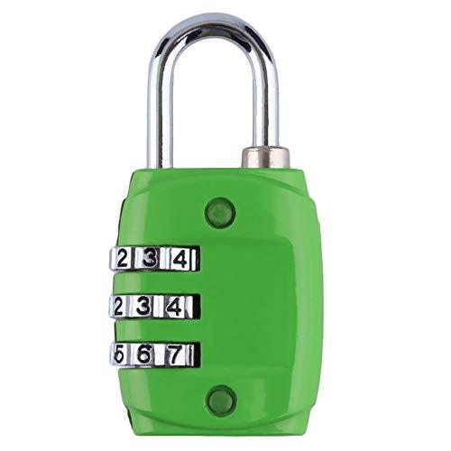 ZengBuks Zink-Legierung Sicherheit 3-stellige Zifferblatt Kombination Code-Nummer Schloss Vorhängeschloss für Gepäck Reißverschluss Rucksack Handtasche Koffer Schublade - grün