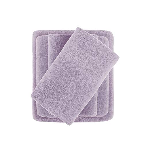 """True North by Sleep Philosophy Micro Fleece, Warm, Soft Plush Sheets with 14"""" Deep Pocket Cold Season Cozy Bedding-Set, Matching Pillow Case, Queen, Lavender"""