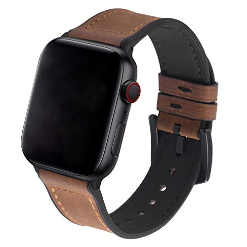 GerbGorb Silicone Leather Apple Watch Strap Compatible for iWatch 42mm 44mm 40mm 38mm, Ultra-soft Rubber Leather iWatch Band for Apple watch Series SE/6/5/4/3/2/1【Brown/Black Buckle,42mm/44mm】
