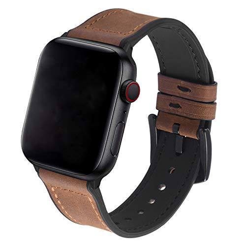 GerbGorb Armband Leder für Apple Watch 38mm 42m 40mm 44mm, Silikon Leder Uhrenarmband für iWatch Serie 5/4/3/2/1, Braun 40mm