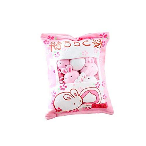 NLRHH 1bag Mini bocadillos Muñecas Muñecas Pudding Pelquete Almohada Juguetes Simulación Lindo Suave, Sofá AlmohadaDecorForHomEdeCoration (Bunny) Peng (Color : Pink)