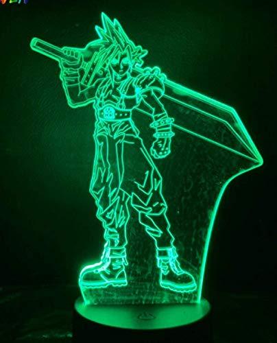 Luz de noche de ilusión 3D esculpida en acrílico 7 colores Juego LED Final Fantasy Neon Tienda familiar Ambiente romántico niños amigos regalos de vacaciones