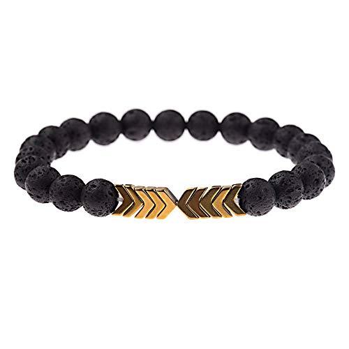 LLXXYY stenen armband, natuurlijke Lava steen etherische olie Diffuser Bangle helende evenwicht Yoga gouden pijl kralen mannen vrouwen paar sieraden