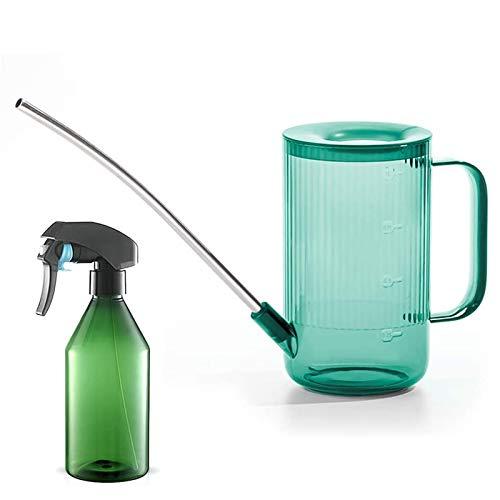 Gießkanne für den Innenbereich (100 oz), Gießkanne für Zimmerpflanzen, Blumen, Sukkulenten, mit Sprühflasche für Pflanzen (284 ml) (grün)