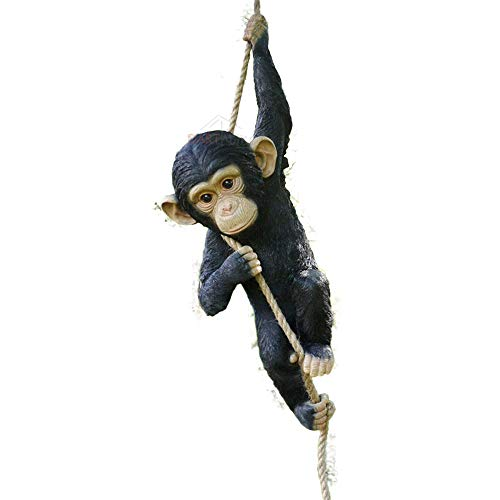Darthome Ltd Climbing Monkey Hanging On Rope Garden Tree Ornament Statue Sculpture Decoration