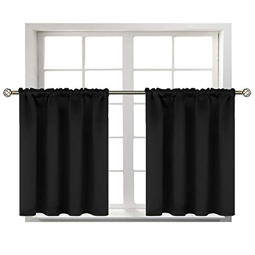 BGment Small Window Room Darkening Curtains for Kitchen- Thermal Insulated Tier Valance Curtain for Bedroom, 42 x 36 Inch, 2 Panels, Black