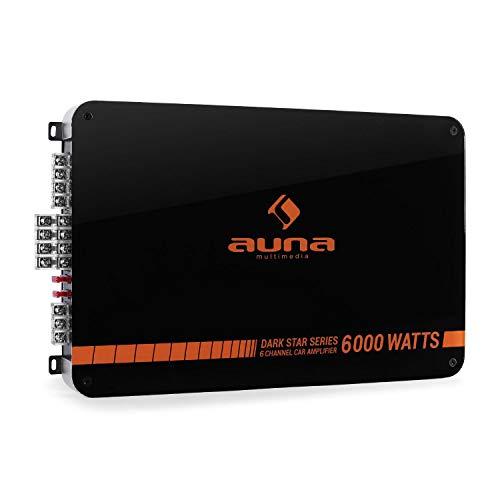AUNA Dark Star - Amplificatore per Auto HiFi, Crossover Regolabile, Retroilluminazione LED, X-Over: LPF/Full, 6 Canali, Possibilità di Funzionamento a 6/5/4/3 Canali, 600W RMS, Nero