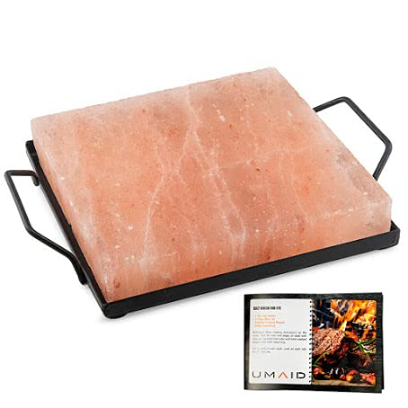 UMAID Natural Himalayan Salt Cooking Block With Iron Tray & Recipe Pamphlet (Medium 8X8X1.5) for Cooking, Grilling, Cutting and Serving.