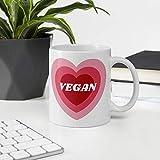 N\A Taza de cerámica con corazón Rosa Vegano, ecológico, sostenible, Reutilizable