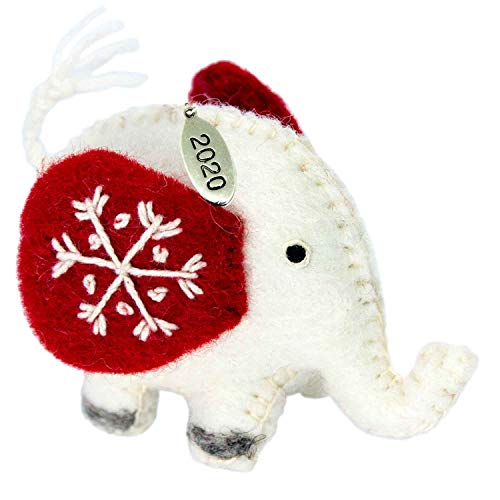 Twisted Anchor Trading Co Felt Christmas Ornaments - Elephant Ornaments 2020 - Fair Trade, Hand Felted Made in Nepal - Comes in a Gift Bag so It's Ready for Giving