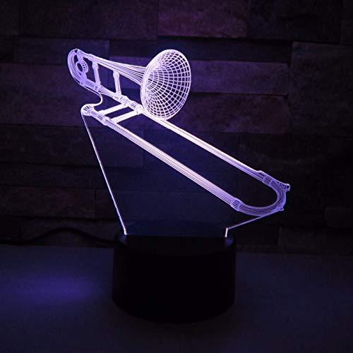 Lámpara de ilusión LED de instrumentos musicales de trombón de luz nocturna 3D, Regalo para niño, Lámpara cálida, Regalo para niño, C - Touch Crack Blanco (7 colores)