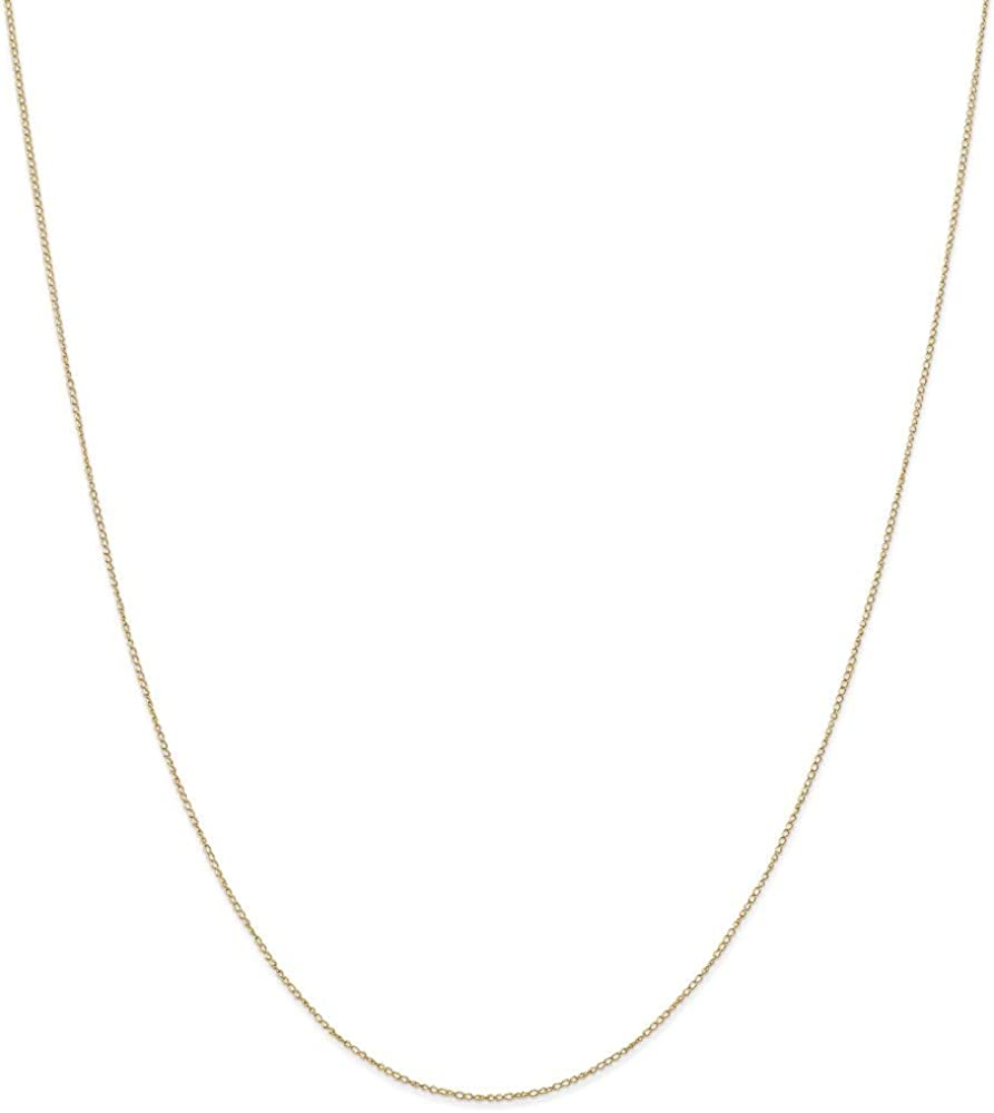 14k Yellow Gold .42 Mm Link Curb Chain Necklace 18 Inch Pendant Charm Carded Fine Jewelry For Women Gifts For Her
