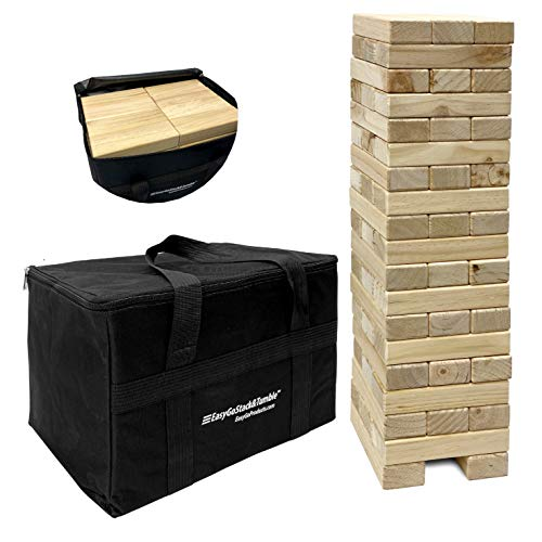 Stack & Tumble - 56 Piece Giant Wood Block Tower Toppling Blocks Game - Game Nights for Kids & Adults – Storage Bag – Starts at 2.5' and Builds to 5'