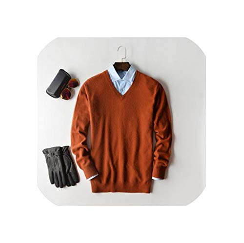 koweis Cashmere Sweater Men Pullover Clothes Hombre Robe Pull Homme Hiver Man Sweaters,v-Neck Caramel,M