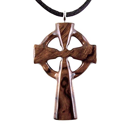 Wooden Celtic Cross Necklace Pendant Mens Christian Wood Jewelry Hand Carved in Desert Ironwood