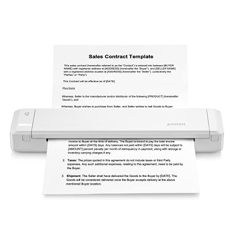 Portable Travel Printer - Wireless and Rechargeable Printer for Bussines Trip,Home Office,Construction Site,Study Inside Or Outside Campus,Compatible with iPhone,Android