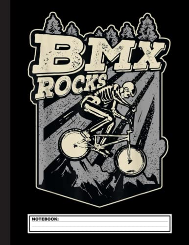 BMX Rocks Funny Skeleton BMX Rider Halloween Costume Notebook: Cool Blank Lined BMX Racing Lovers Notebook For Rider and Coach
