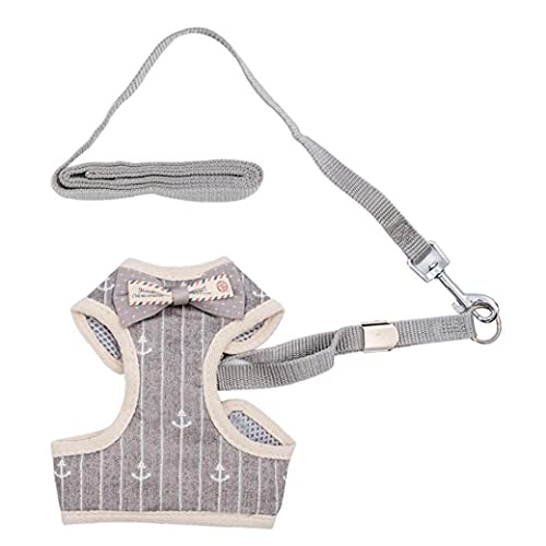 Dog Vest Harness Traction Rope Breathable Pet Puppies Chest Harness Set with Bow Tie Gray L