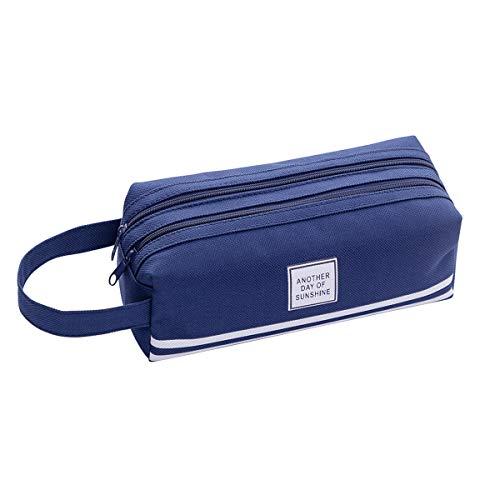 iSuperb Estuche Escolar Pequeño Plumier Pencil Holder Gran Capacidad Estuche Tela Oxford Azul Pencil Case 19.5 x 7.5 x 7.5 cm (Azul oscuro)