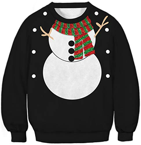 EUDOLAH Boy's Christmas Sweatshirt 3D Print Lovely Sweater Santa Claus for Kids Long Sleeve(L,Snowman 012)