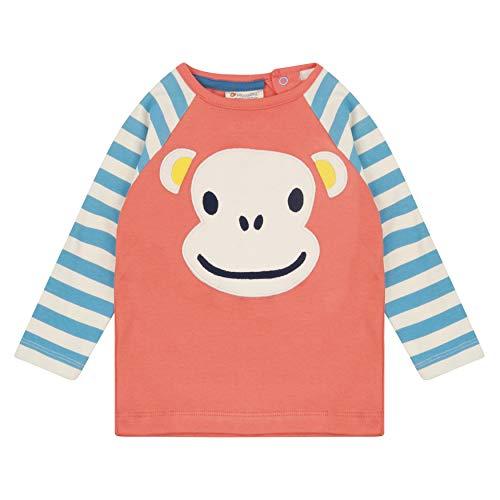 Piccalilly Kids Fun Applique Raglan à manches longues Motif visage de singe - Multicolore - 24 mois
