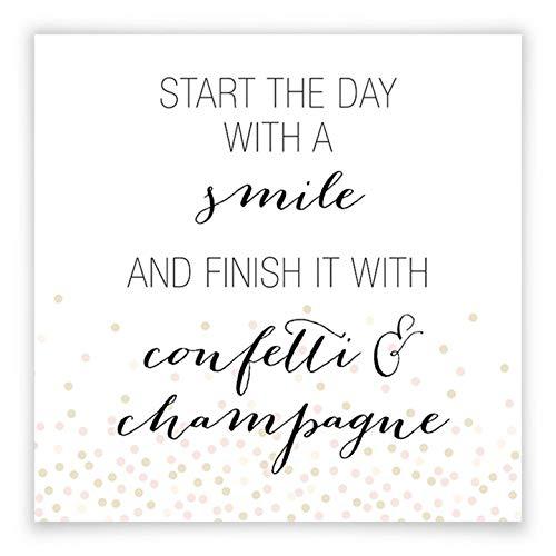 Poster Confetti & Cream - start de dag met een smile confetti champagne glimlach spreuk typografie trend citaat spreuk zonder accessoires Wall-Art 40x40 cm zwart