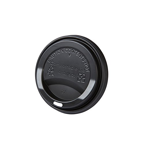 BIOZOYG Coffee to Go Deckel für Trinkbecher Ø 80mm I 50 Deckel für Pappbecher aus CPLA Biokunststoff 100% biologisch abbaubar, kompostierbar, recycelbar I Trinkloch Becherdeckel flach schwarz