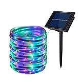 Luci di Stringa all'aperto della Striscia Solare, Luce Decorativa Flessibile Leggera della Corda di Umore del Nastro del LED di 16.4ft / 5M 100LED per Il Partito all'aperto del Giardino