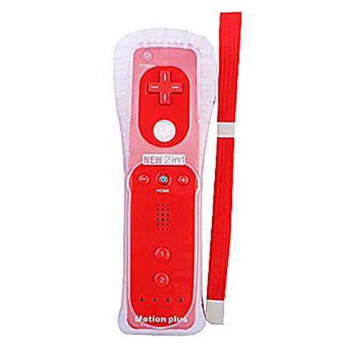 HOTSO Motion Plus Mando a Distancia para Wii/Wii U, Remoto Motion Plus Controlador de Juego para Nintendo Wii y Wii U con Funda de Silicona y Muñequera(Rojo)