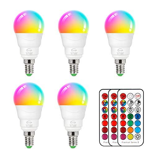 LED Lampe E14 RGBW, 5er Set LED Farbwechsel Birne 5 Watt (ersetzt 40W), Dimmbar Farben LED Glühbirne, Farbwechsel Glühbirne mit Fernbedienung | RGB und warmweiss 2700K