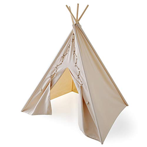 LOWYA ロウヤ キッズテント ティピーテント インディアン 綿100% アイボリー(ホワイト)