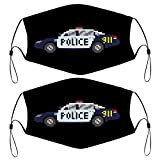Police Toy Car Pack of 2 Dust Protection Reusable Material Face Mask with 4 Filters for Kids Children Bandana Scarf