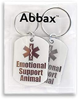 Abbax Stainless Steel Emotional Support Animal Tag (Two Tags Included)