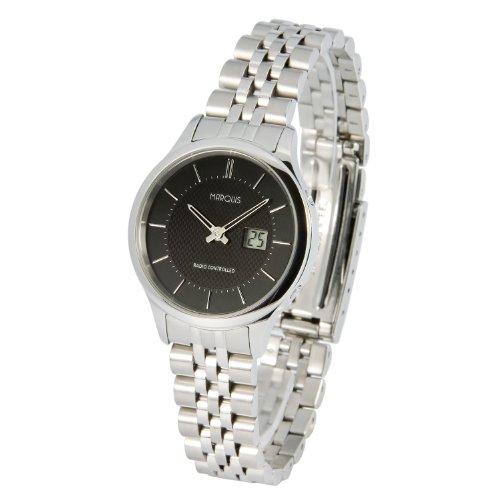 Elegante MARQUIS Damen Funkuhr (Junghans-Uhrwerk) Gehäuse und Armband aus Edelstahl 964.4925
