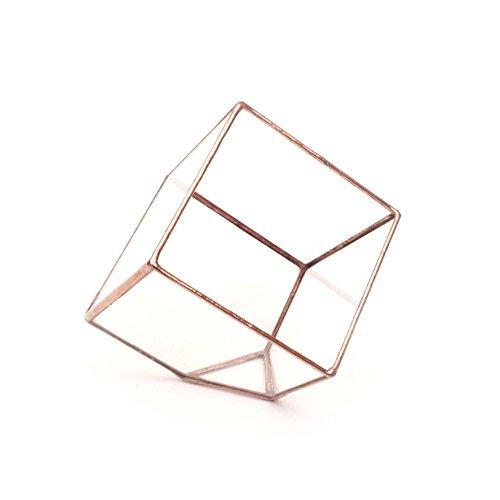 Lenka's Terrrariums Terrarium cubique, pot de fleurs géométrique et moderne en verre, fait à la main en Angleterre S Cuivre clair