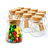 Small Glass Decorative Bottles With Cork Lids - 12pc, 3.4oz Mini Mason Jar for Wedding Favors, Apothecary, DIY Arts Crafts w/Personalized Label Tags & String