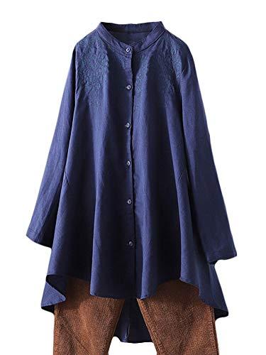 FTCayanz Damen Leinen Bluse Shirt Langarm Stickerei Hemd Elegant Langarmshirt Lang Tunika Tops Marine XXL